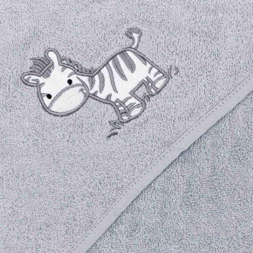 Ceba ręcznik dla niemowląt okrycie kąpielowe zebra szara100x100cm