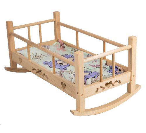 Drewniana kołyska dla lalek z wyposażeniem mix kolorów 53x26,5cm