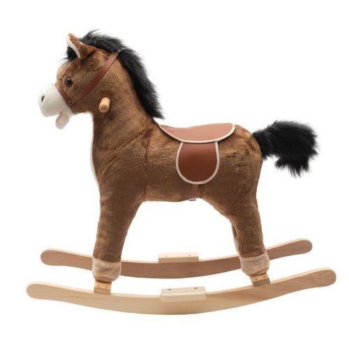 Koń na biegunach z melodią 36m+ rży i macha ogonem brązowy