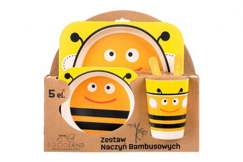 Zestaw naczyń bambusowych dla dzieci pszczółka 5 elementów 12m+