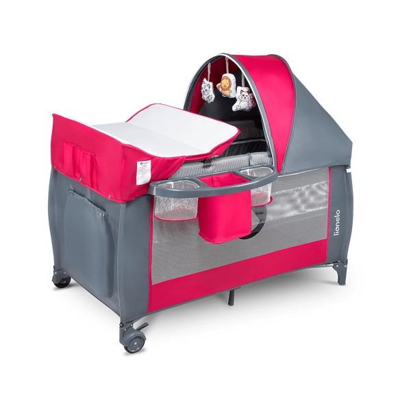 Lionelo dwupoziomowe łóżeczko turystyczne sven plus pink rose szaro różowe