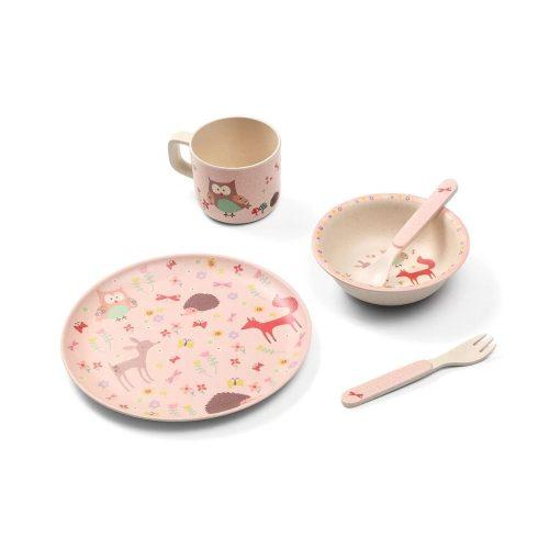 Ekologiczne naczynia dla dziecka z bambusu zestaw 5 szt różowe zwierzęta Babyono