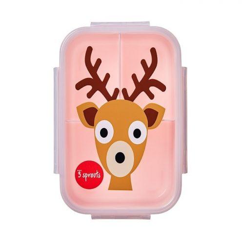Lunchbox pojemnik na przekąski dla dziecka Jelonek róż 3 sprouts