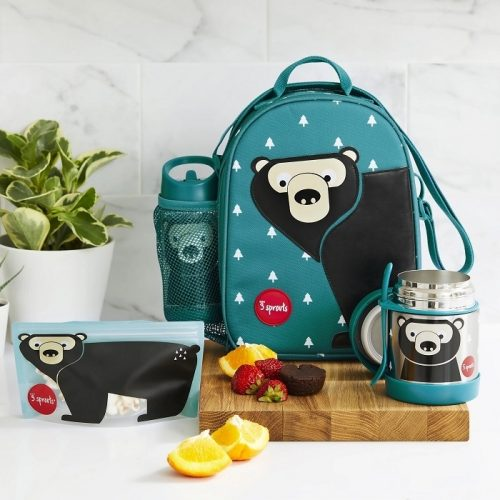 Lunchbox pojemnik na przekąski dla dziecka Niedźwiedź turkus 3 sprouts