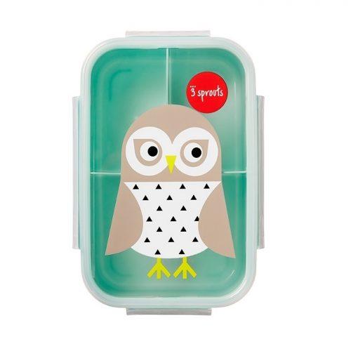 Lunchbox pojemnik na przekąski dla dziecka Sowa mięta 3 sprouts