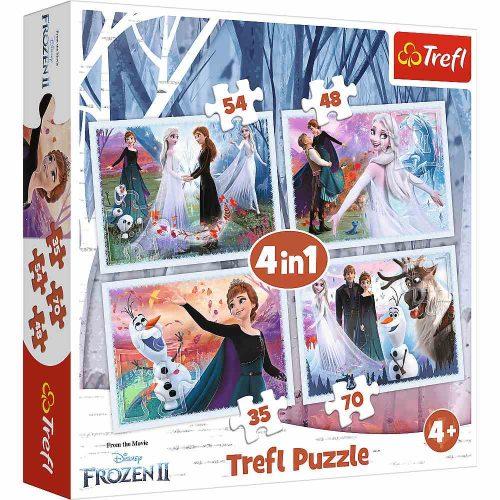 Trefl Puzzle 4w1 35 48 54 70 el. Frozen W magicznym lesie