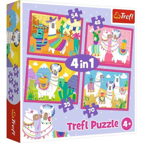 Trefl Puzzle 4w1 35 48 54 70 el. Lamy na wakacjach