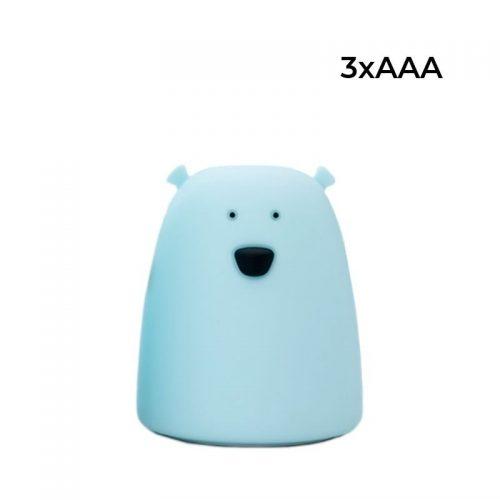 Lampka nocna led silikonowa Miś mały niebieski Rabbit&Friends