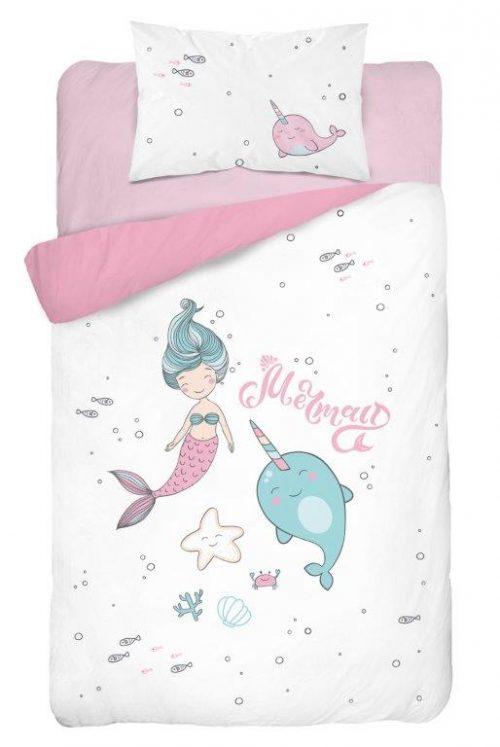 Bawełniana pościel 135x100 do łóżeczek 120x60 i 140x70 Syrenka różowa