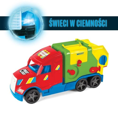 Śmieciarka kontener świeci w ciemnosći Magic truck basic 36330 Wader
