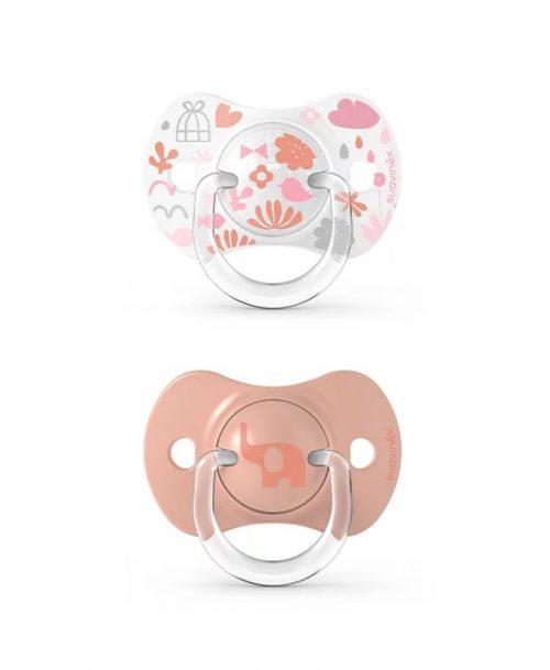 Smoczek fizlologiczny Suavinex 6-18mMemories 2 szt różowy