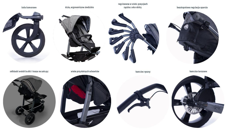TFK Sport wózek spacerowy do joggingu kolor Czarny koła komorowe