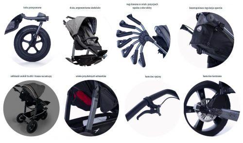 Wózek spacerowy TFK Sport na kołach pompowanych kolor Brązowy