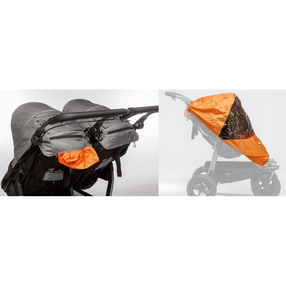 Bliźniaczy wózek spacerowy TFK Duo Sport koła pompowane kolor Brązowy
