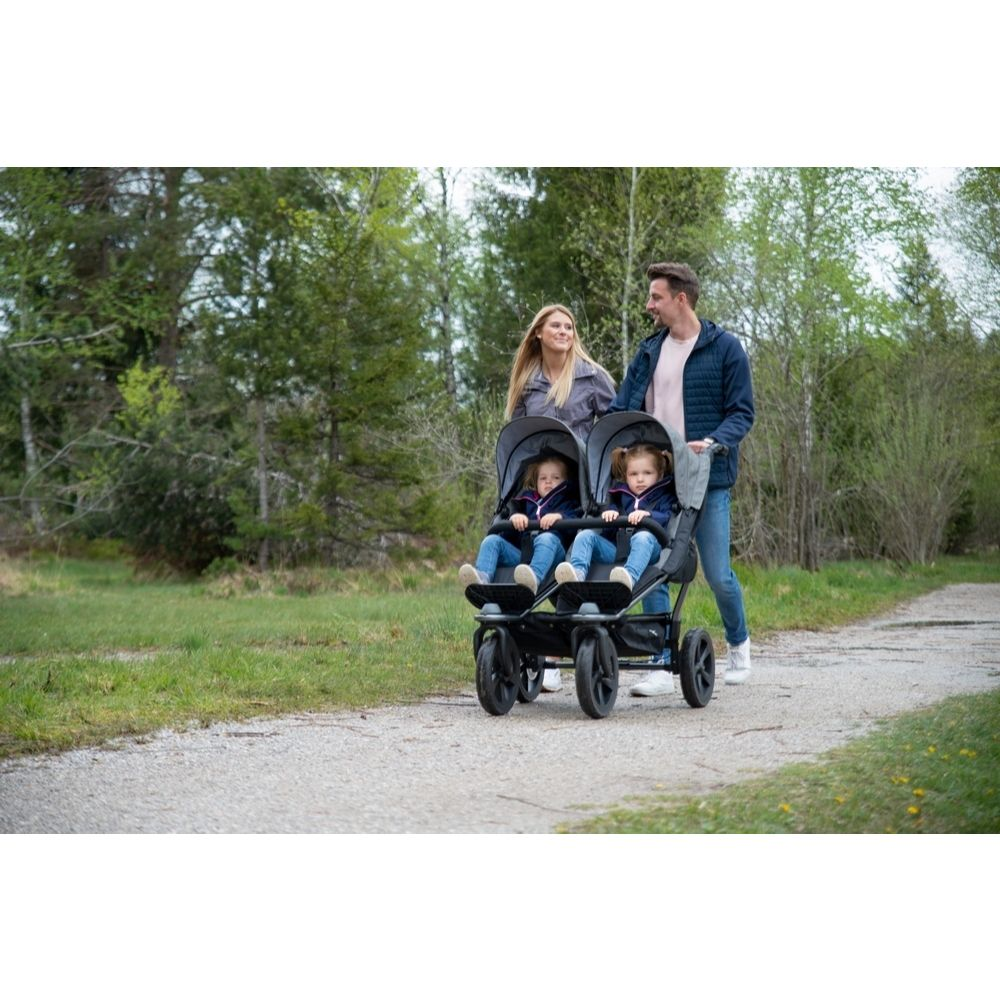 TFK Duo Sport bliźniaczy wózek spacerowy koła pompowane kolor Szary