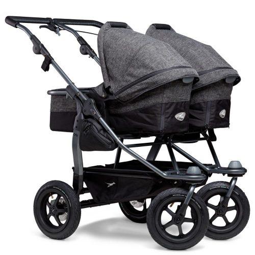 Blźniaczy wózek głęboko spacerowy TFK Duo Combi koła pompowane zestaw 2w1 kolor Antracite Premium