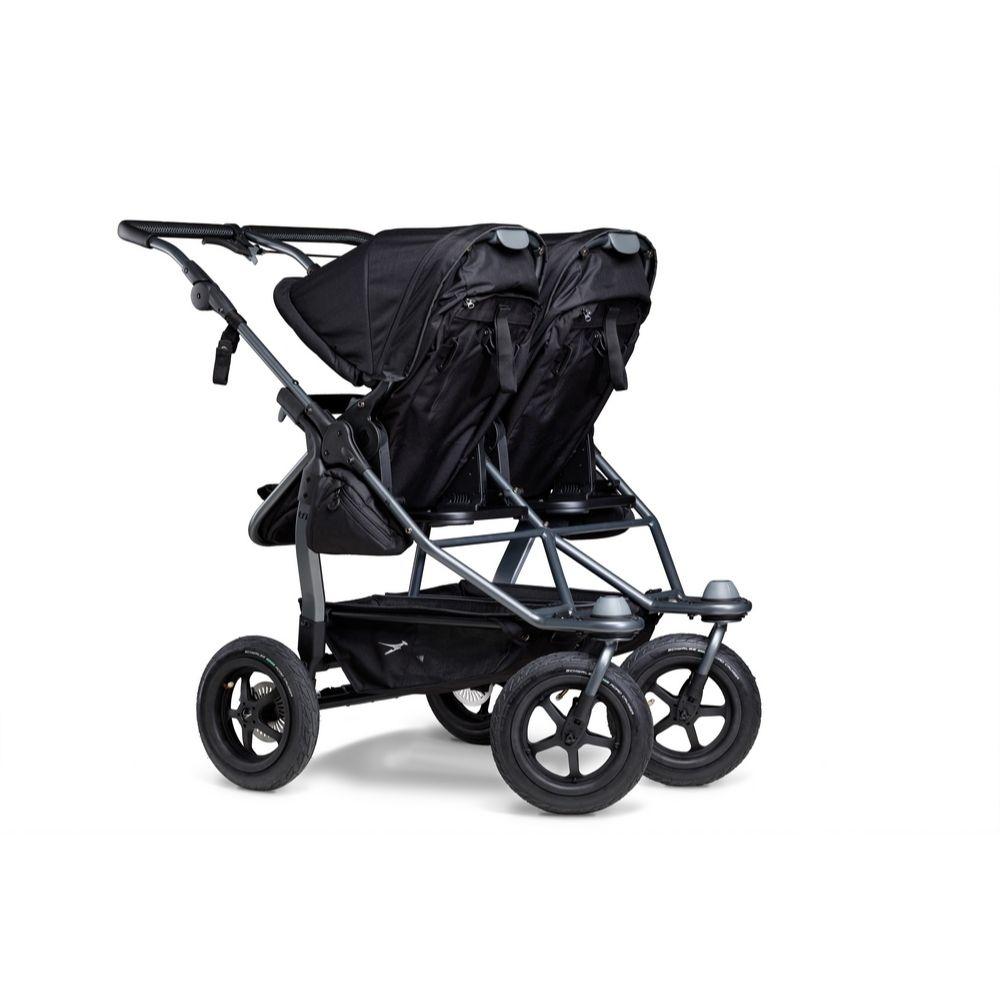 Blźniaczy wózek głęboko spacerowy TFK Duo Combi koła pompowane zestaw 2w1 kolor Czarny