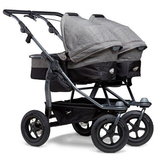 Blźniaczy wózek głęboko spacerowy TFK Duo Combi koła pompowane zestaw 2w1 kolorSzary Premium