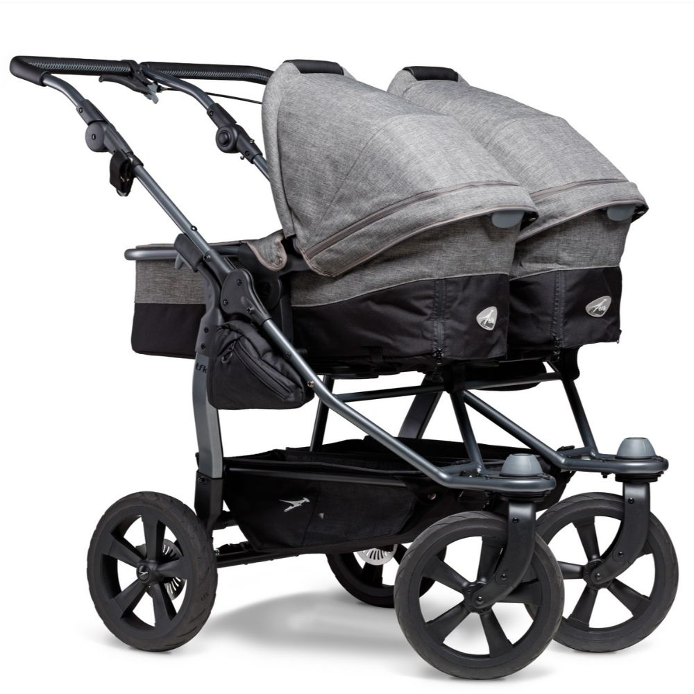 TFK Duo Combi bliźniaczy wózek głęboko spacerowy zestaw 2w1 koła komorowe kolor Szary Premium