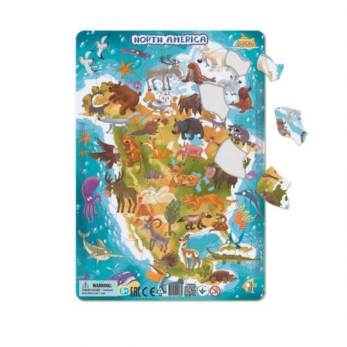 Puzzle dla dziecka 5+ ramkowe Ameryka Północna