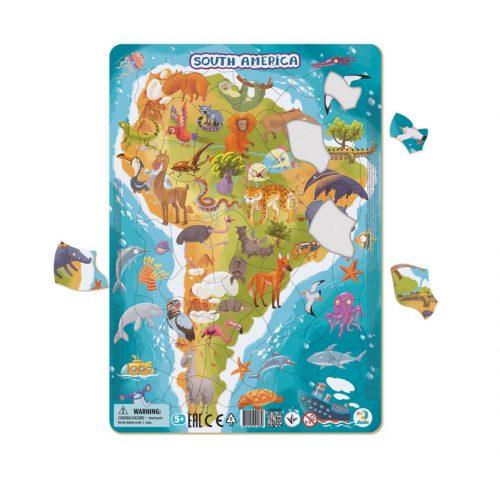Puzzle dla dziecka 5+ ramkowe Ameryka Południowa