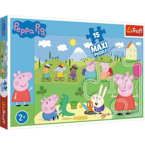 Trefl Puzzle  maxi 15el. -Szczęśliwy dzień Peppy