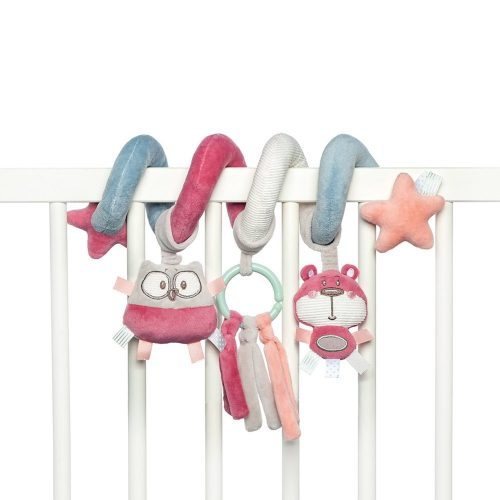 Spirala pluszowa do łóżeczka fotelika Canpol Babies pastel różowa