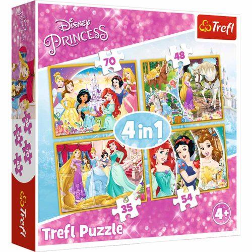 Trefl Puzzle 4w1 35 48 54 70 el. Princes Radosny dzień księżniczek