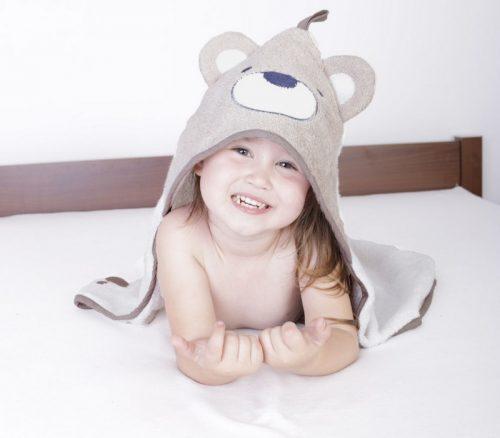 Okrycie kąpielowe dla niemowląt 80x80 biały beż