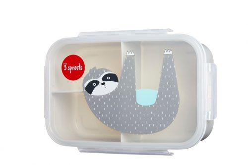 Lunchbox pojemnik na przekąski dla dziecka Leniwiec szary 3 sprouts