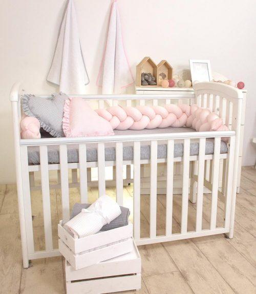 Warkocz do łóżeczka ochraniacz 210 dzianina róż Amy