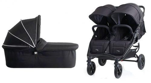 Bliźniaczy wózek głęboko spacerowy dla dzieci rok po roku 2w1 Valco Baby Snap Duo Sport koła pompowane kolor Coal Black + GRATIS