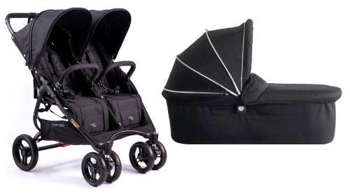 Bliźniaczy wózek spacerowy dla dzieci rok po roku Valco Baby Snap Duo zestaw 2w1 kolor Coal Black