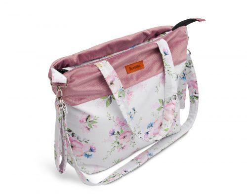 Torba do wózka torba dla mamy velvet kwiaty
