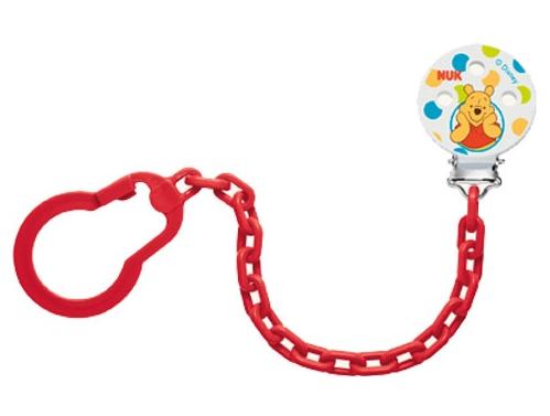 Łańcuszek do smoczka uspokającego Nuk Kubuś Puchatek Disney czerwony