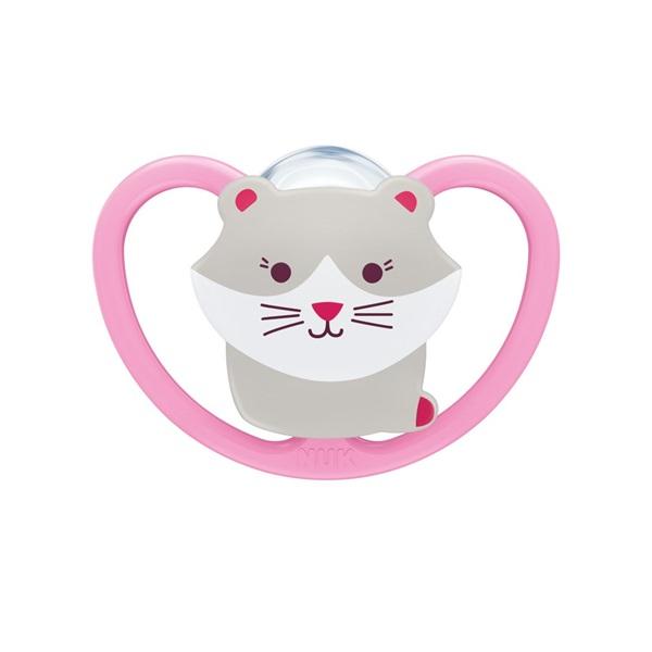 Smoczek uspokajający silikonowy 0-6m Space Nuk kotek jasny róż