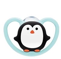 Smoczek uspokajający silikonowy 18-36m Space Nuk pingwin turkus