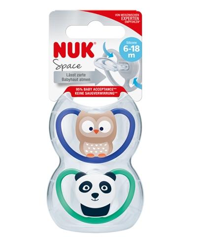 Smoczek uspokajający anatomiczny Nuk Space 6-18m sowa i panda