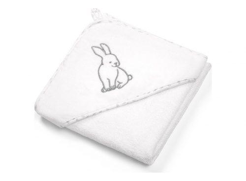 Okrycie kąpielowe z kapturkiem 100x100 białe królik Babyono