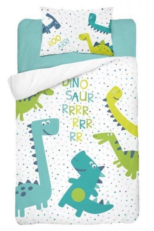 Bawełniana pościel 135x100 do łóżeczek 120x60 i 140x70 dino zielona