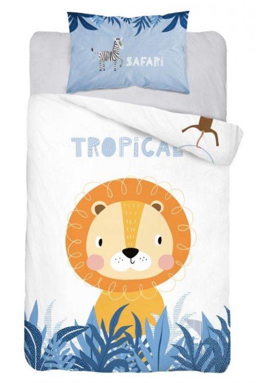 Bawełniana pościel 135x100 do łóżeczek 120x60 i 140x70 safari niebieska