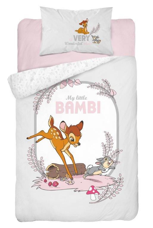 Bawełniana pościel 135x100 do łóżeczek 120x60 i 140x70 Bambi szara