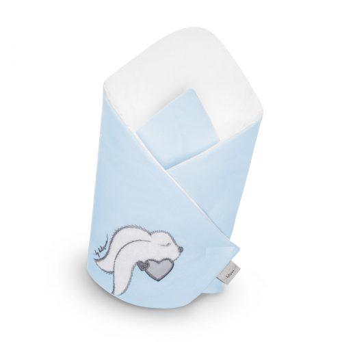 Becik rożek niemowlęcy Mama i ja niebieski Belisima 75x75
