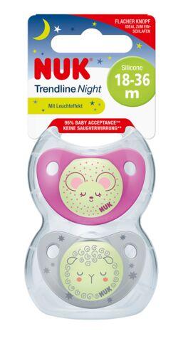 Nuk smoczek silikonowy Trendline Night&Day 18-36  2 szt różowa mysz i białą owca