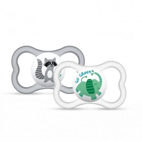 Smoczek silikonowy Mam Baby Air 6m+ 2 szt  szary i biały
