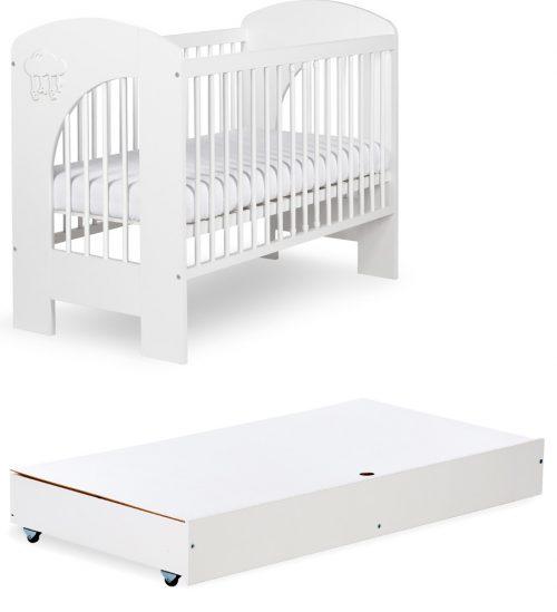 Łóżeczko z pojeminikiem120x60 Nel Chmurka Biała Klupś