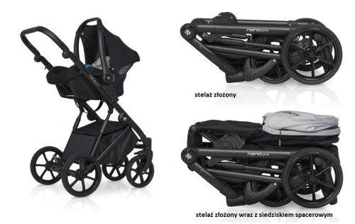 Riko Nano Pro wózek głęboko spacerowy zestaw 3w1 z fotelikiem Avionaut Pixel 0-13 kg 4*ADAC kolor Carbon