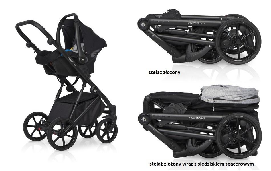 Wielofunkcyjny wózek głęboko spacerowy Riko Nano Pro zestaw 3w1 z fotelikiem Avionaut Pixel 0-13 kg kolor Onyx + GRATIS!