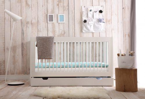 Pinio Basic zestaw mebli łóżeczko 120x60 szufalda
