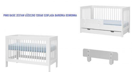 Pinio Basic zestaw mebli łóżeczko 120x60 szufalda barierka
